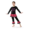 Korean Children Clothing Baby Girls Black Floral Ptinted Set Wholesale Western Girls Outfits