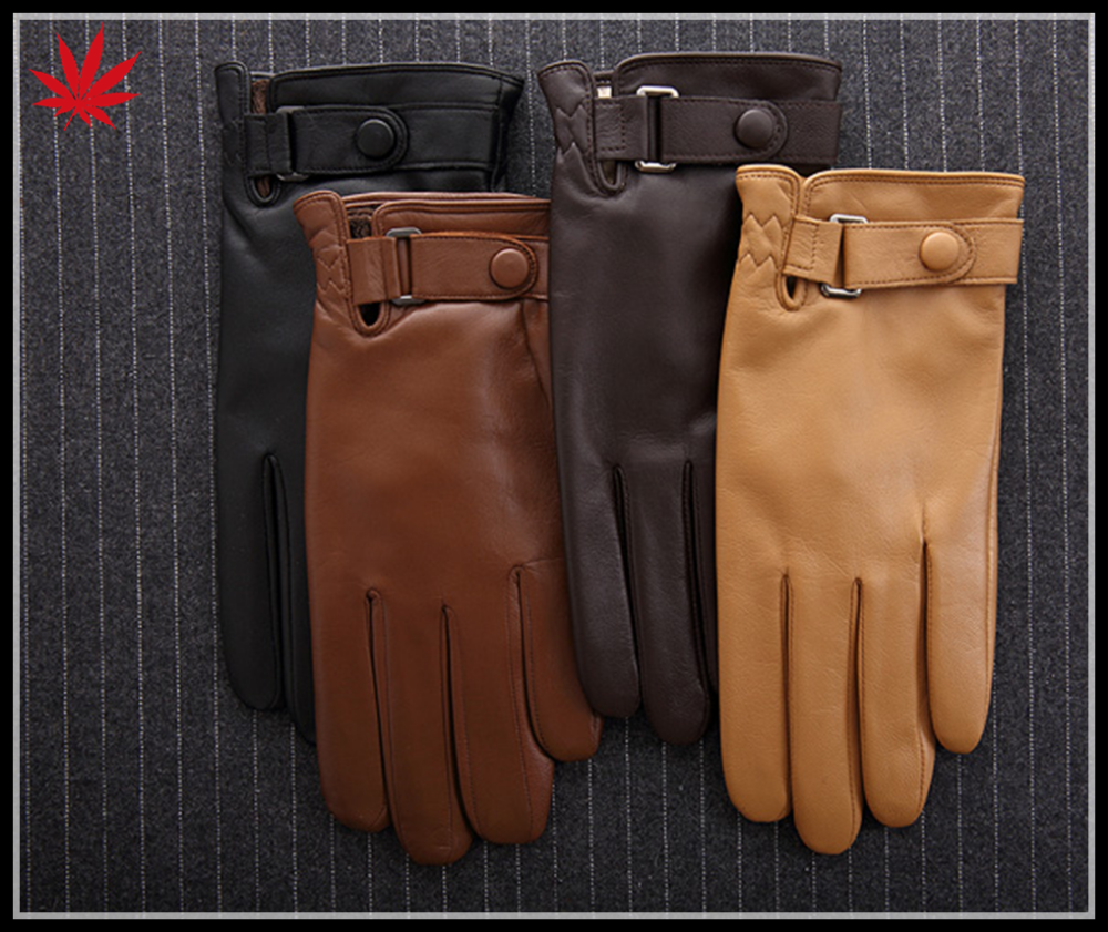 Men's leather gloves and hair thickening male business warm winter leather gloves sheepskin gloves thin fall and winter