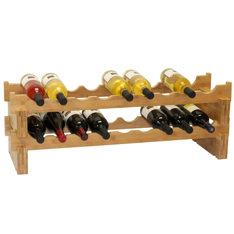18-Bottle Stackable Bamboo Wine Rack wall mounted wine rack foe wholesale