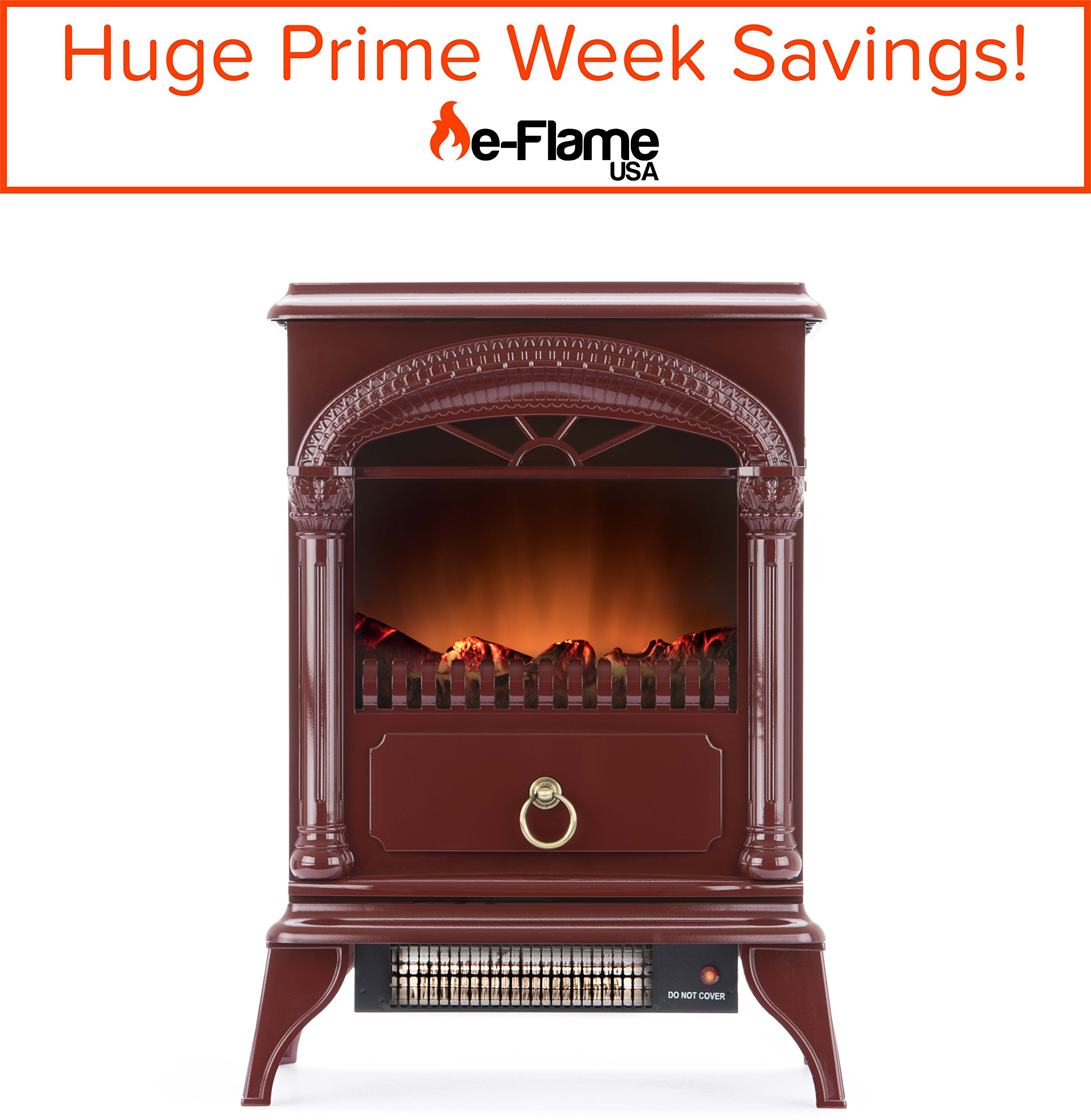 Get Quotations Hamilton Free Standing Electric Fireplace Stove 22 Inch Red Portable With Realistic Fire