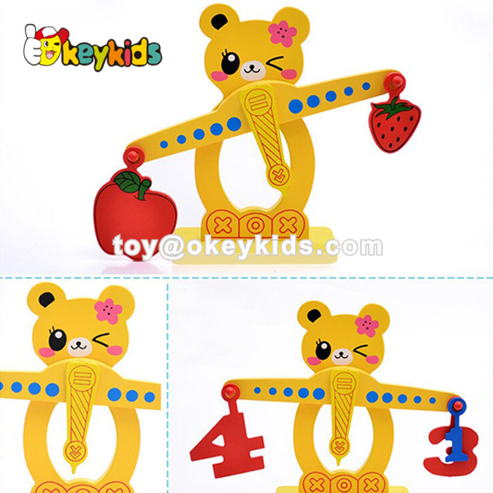 Wholesale cute cartoon style fruits shape blocks wooden balance toy for baby W11F055