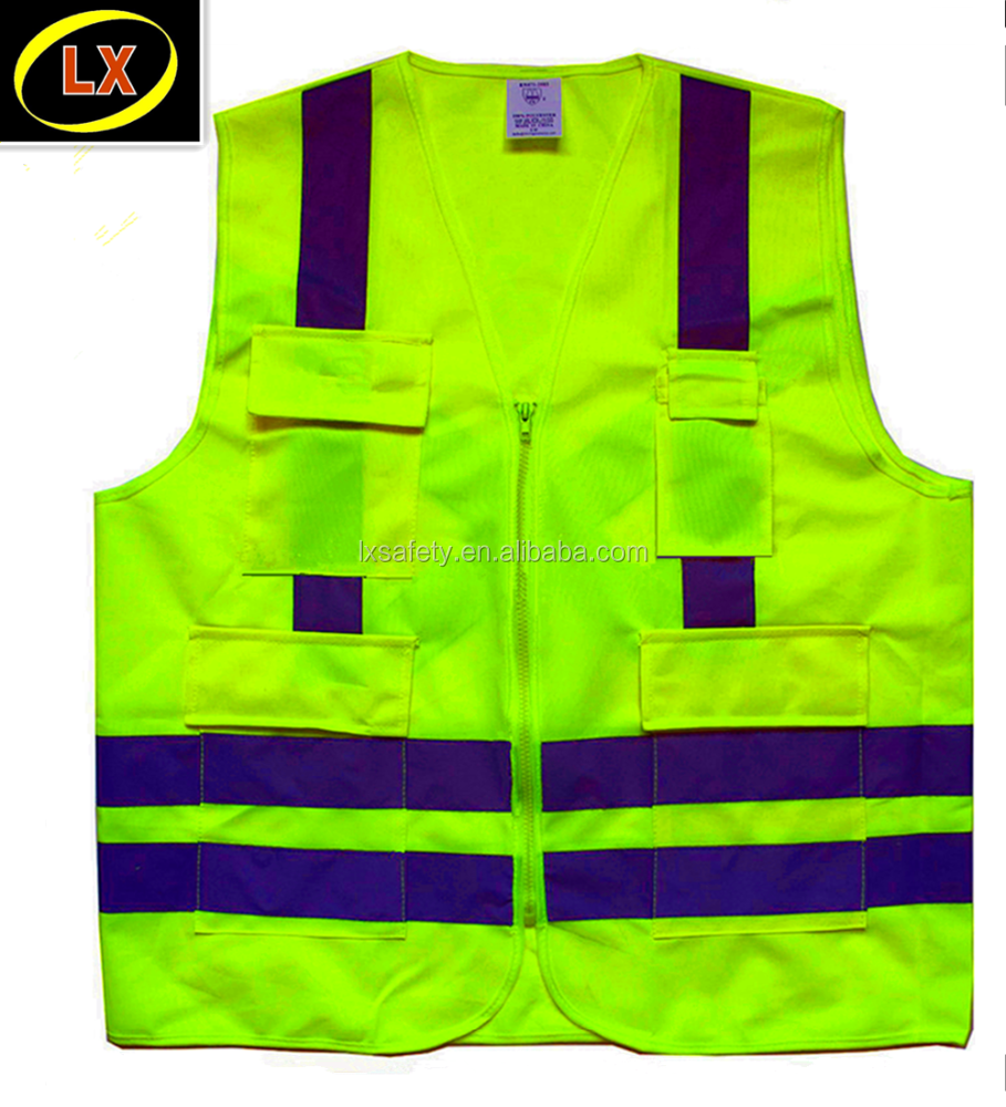 Yellow Lime Green High Visibility Reflective Vest Safety Jacket with two chest breast and bottom pockets and Zipper closure