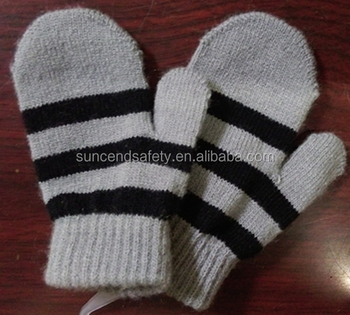 Custom Knit Mittens For Kids Children Acrylic Knit Double Layer
