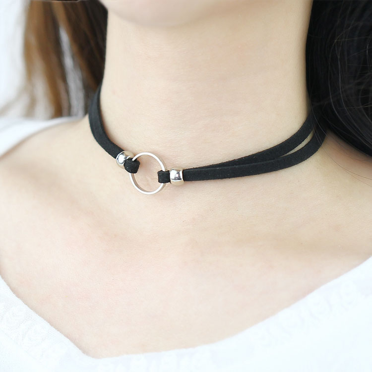 >>>Moonso KS6732 Punk choker, women black leather choker circle <strong>silver</strong> & gold pendant necklace for wholesale///