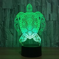 3D New Turtle Night Light 7 Color Change LED Table Desk Lamp Acrylic Flat ABS Base USB Charger Home Decoration Toy Brithday Xmas