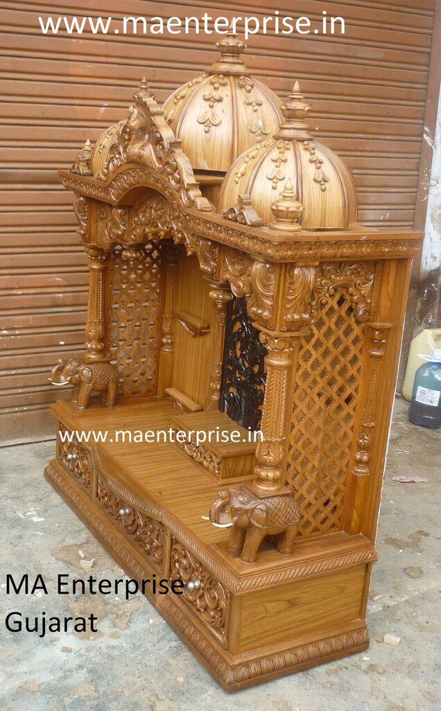 Wooden Mandir For Home Puja Made From Ghana Teak Wood