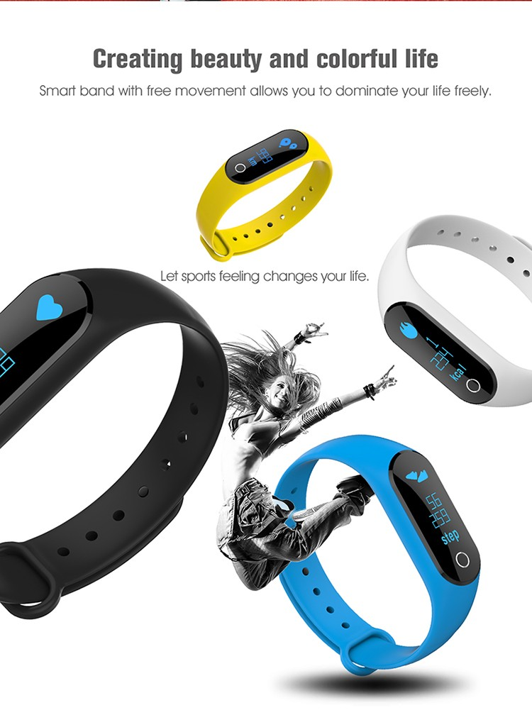 2017 popular charming design 0.86 OLED screen heart rate smart bracelet with swappable screen reading message Pedometer fit band