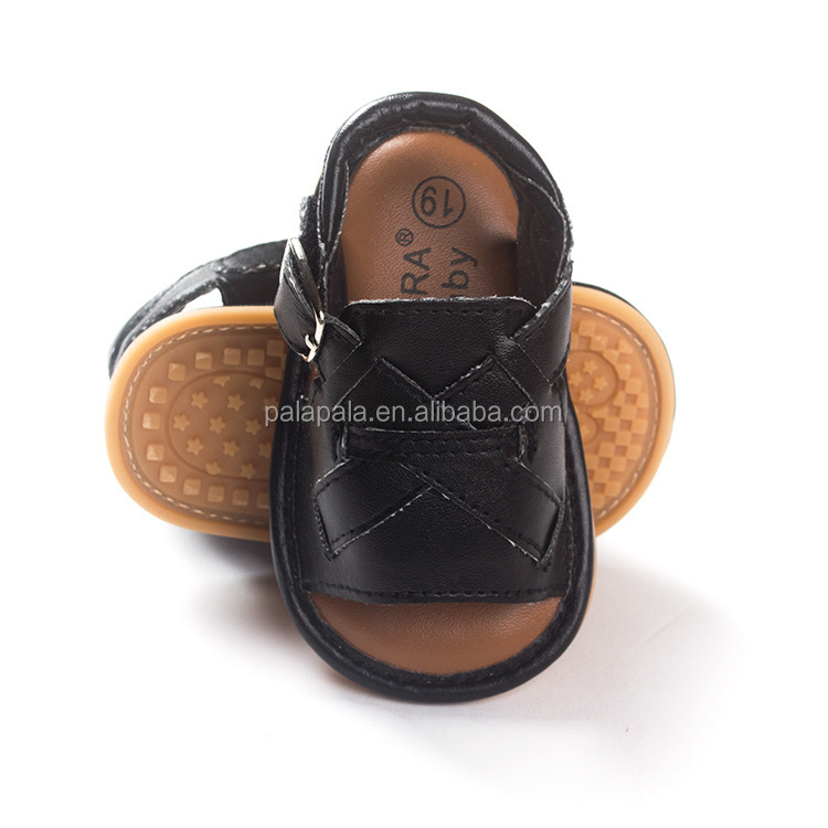 2016 summer new boys Tsai black male baby moccasins soft bottom toddler baby sandals