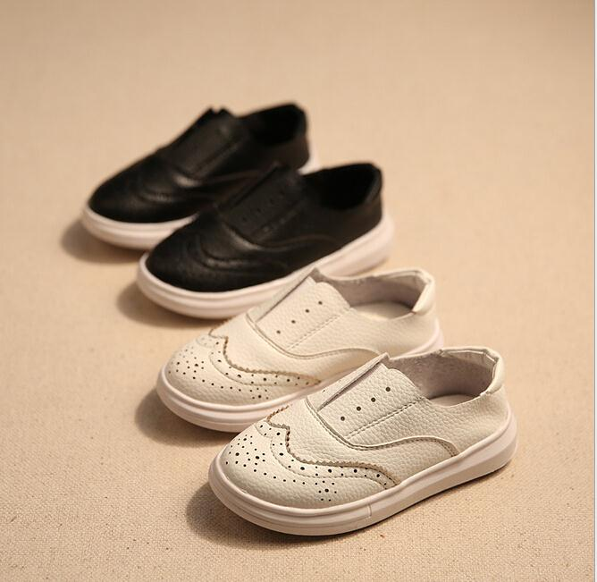 New kids spring autumn leather shoes girls boys British style simple loafers children s casual single