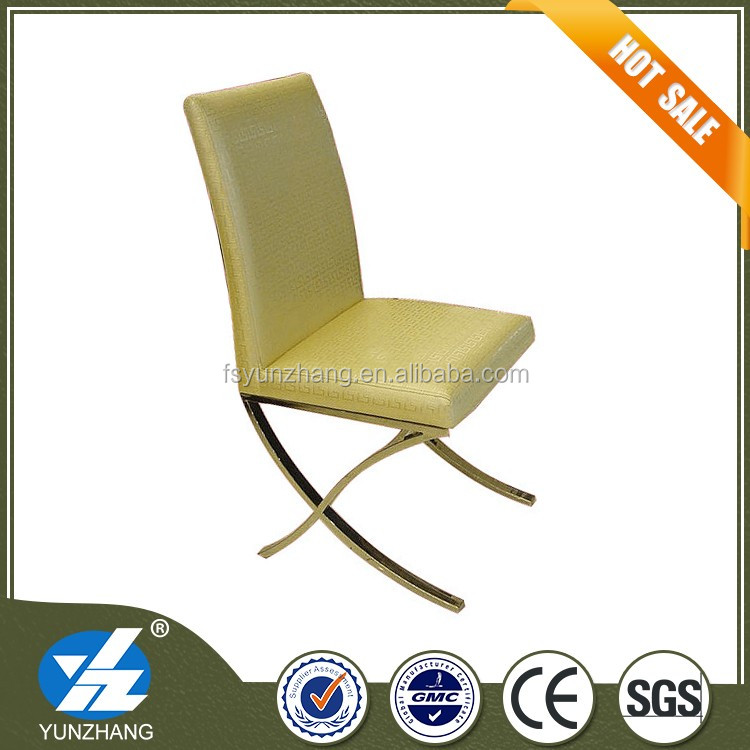 X shape frame green leather dining chair