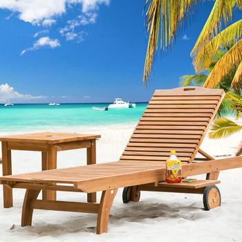 Modern Garden Outdoor Furniture Sun Lounge Wood Hotel Swimming Pool Beach Chair With Wheels