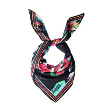 Japanese Design Custom Digital Printed Square Silk Twill Scarves Ladies