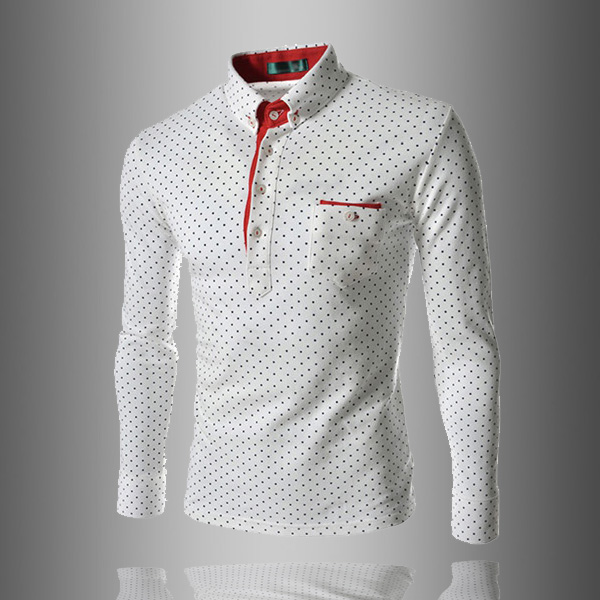 Classic Mens Chest With Pocket Printing Dot Long Sleeve T Shirt