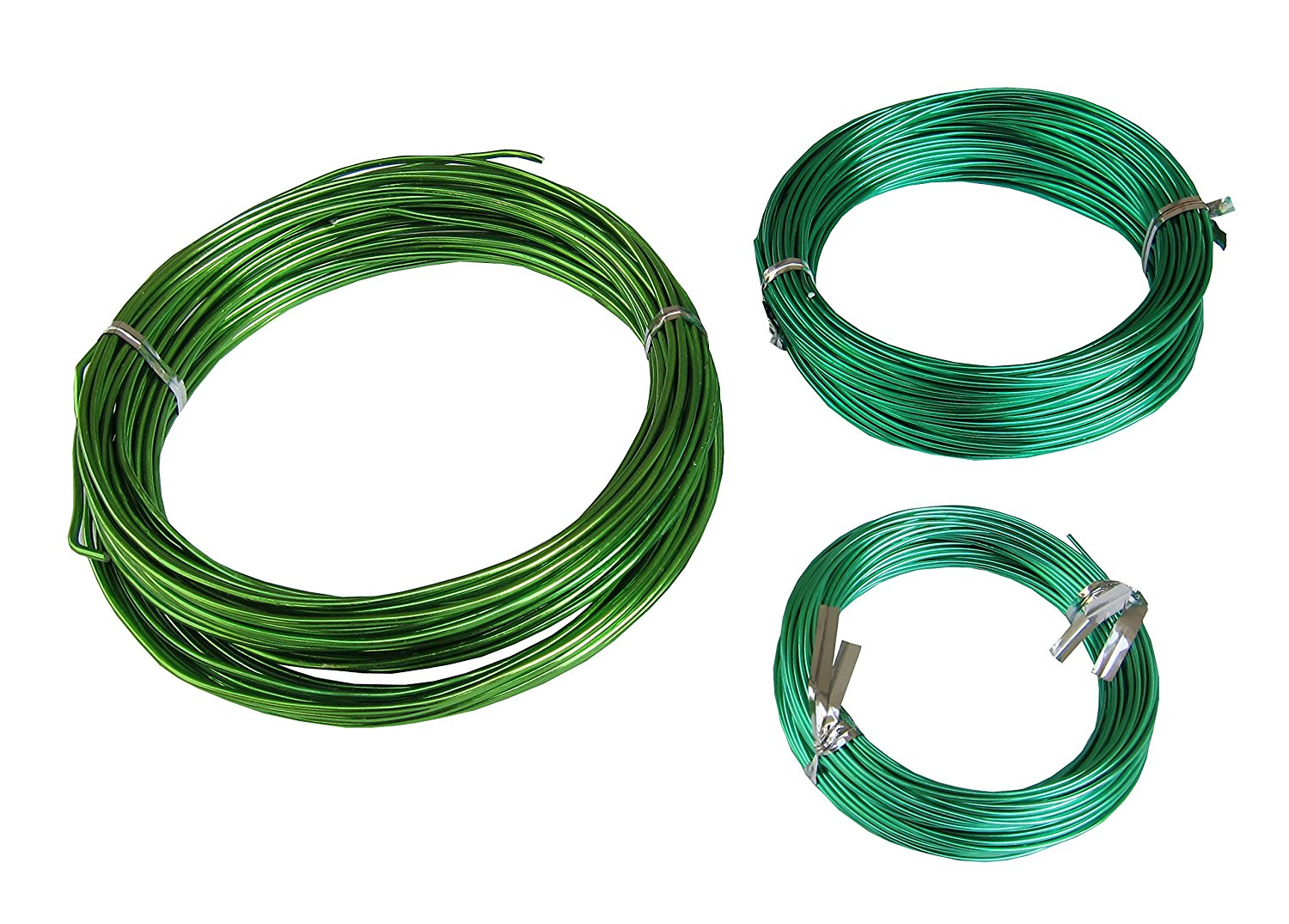 150Feet Anodized Aluminum Bonsai Training Wire 3-Size Starter Set, Multipurpose Crafting DIY Wires Ties - 1.0mm, 1.5mm, 2.0mm(Each 50Ft), Easy Bending Cutting, Quality Alu Tie Wire 3 Size Pack (Green)