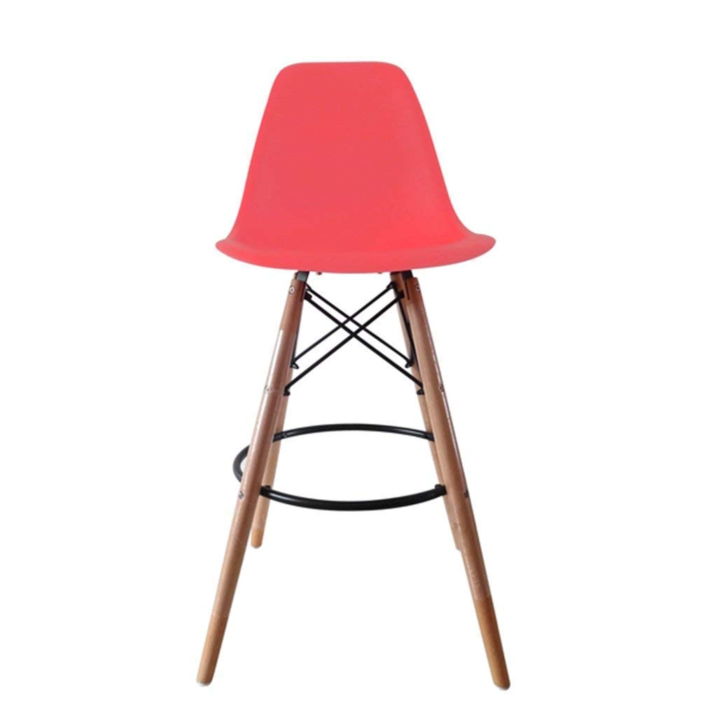 DEED Chair Stool - Bar Chair Cold Drinks Bar Stool Bar Chair Solid Wood Simple Leisure Salverform Back Steel Wood Bearing Stability Household Bar Commercial Adult Home Stool