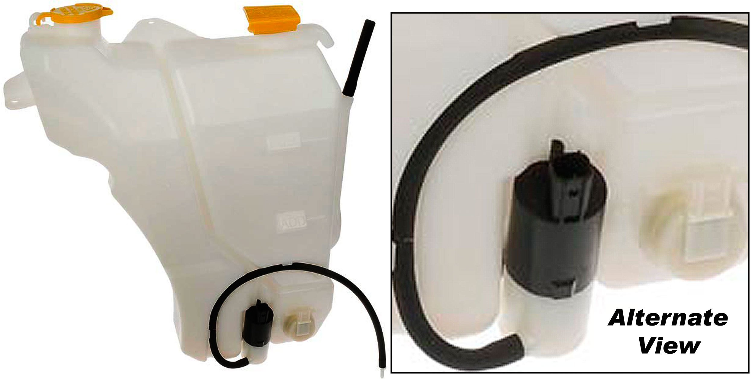 APDTY 714103 Dual Coolant Reservoir & Windshield Washer Fluid Bottle With Washer Pump Fits Select Dodge Ram 1500, 2500, 3500 Trucks; See Description For Details (Replaces 5072595AA, 55056502AA)