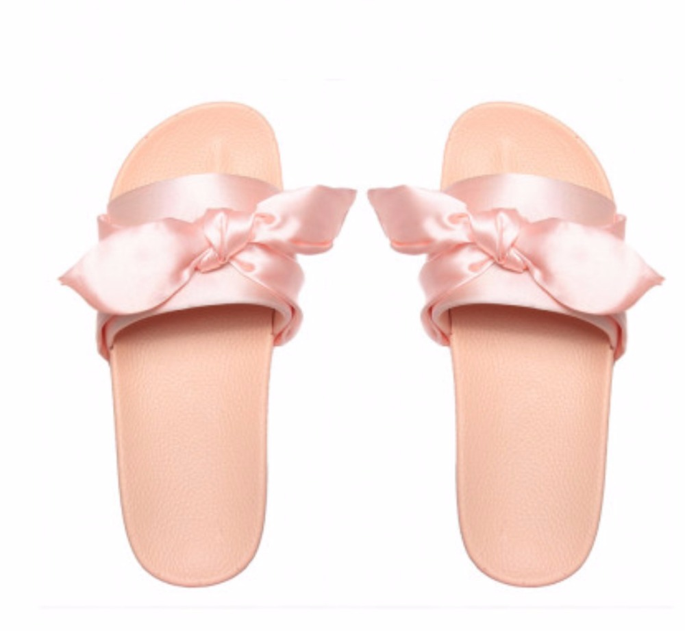 OLUX8 2017 New Design Wholesale Dream Pink Satin Bow Rubber Women Chinese <strong>Slippers</strong>