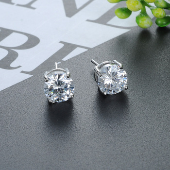 Best Selling Simple 925 Sterling Silver stud earrings 2mm to 8mm round crystal cz diamond earrings jewelry for women girls