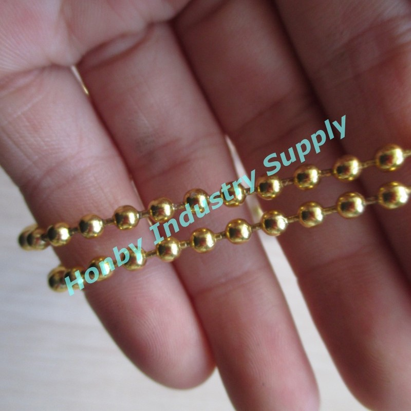 3.2mm steel matte gold plated ball chain