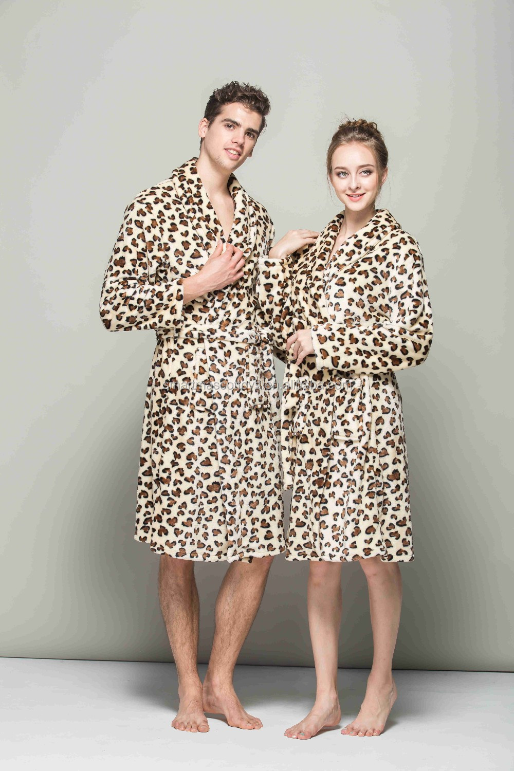 Couple leopard bath robe flannel adult bath robe