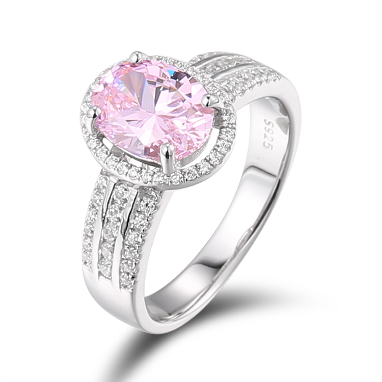 New design China Jewelry Wholesale 925 Sterling Silver Pink Zircon Women's Engagement <strong>Ring</strong>