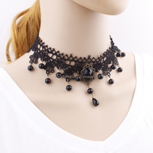 Newest Korean style Fashion Lace Necklace inlaid Gemstone statement Necklace