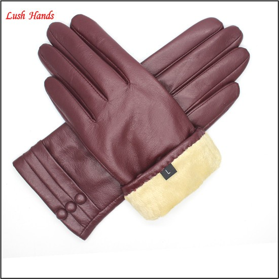 2016 ladies simple style wine red cheap leather gloves