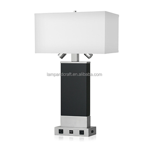 UL USA style hotel guest room high end table lamp with double power outlet rotatable LED arms