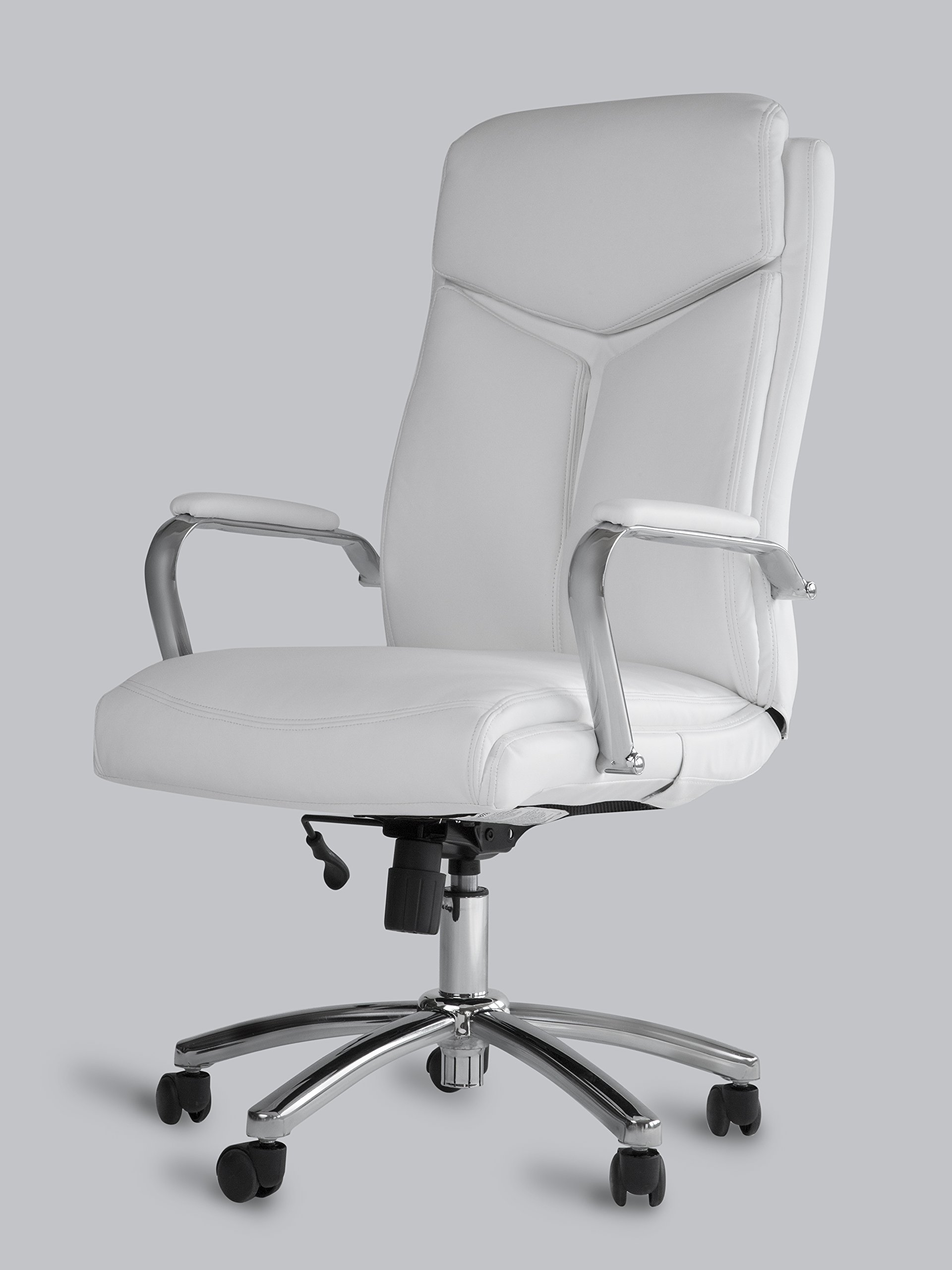 Get Quotations Office Factor White Leather Executive Rolling Swivel Chair With Chrome Metal Components Comfortable Padded Armrests