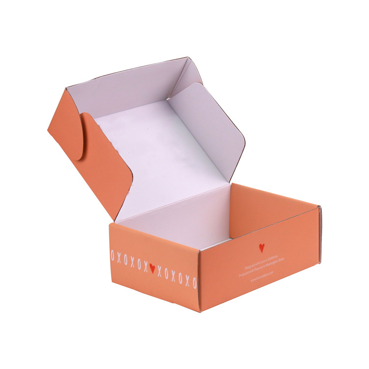 Custom kraft paper orange print corrugated shipping mailer cardboard boxes for gift pack