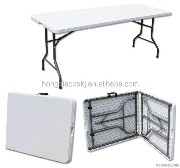 6FT Plastic Folding Half Table HQ Z183, Fold In Half Table Picnic Banque  Table