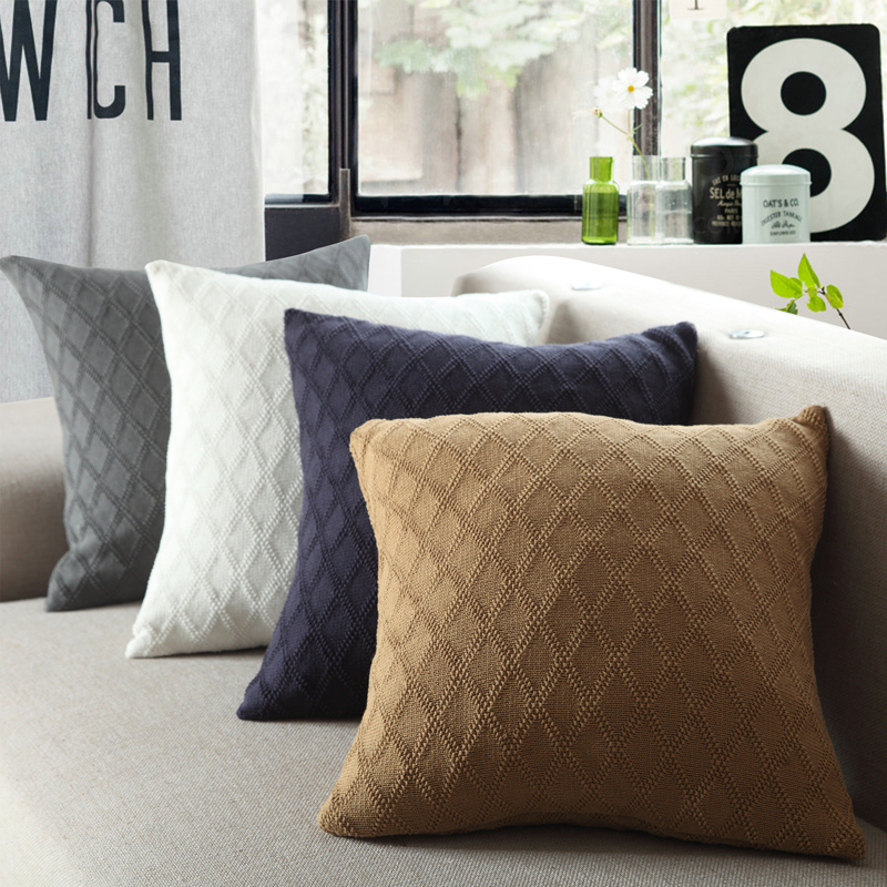 cotton diamond knitted cushion decorative pillow cushion cover wholesale