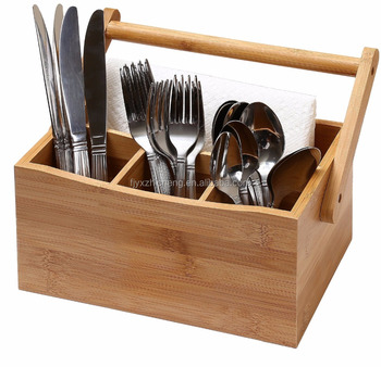 Exceptionnel Bamboo Silverware, Flatware Caddy Organizer For Kitchen Countertop Storage  4 Compartment Utensil Cutlery Holder