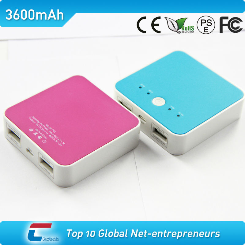 1A&2.1A Dual USB 3200mAh external portable power bank 2600mah