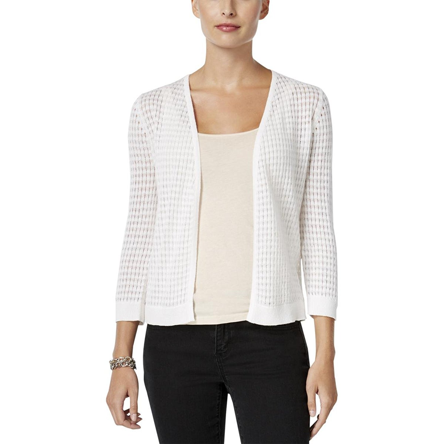 97aefd82d4c Get Quotations · Charter Club Womens Pointelle Ribbed Trim Cardigan Sweater