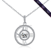 JP0564-Chinese Imports Wholesale Silver 925 Jewelry Round Clock Design Pendant Necklace