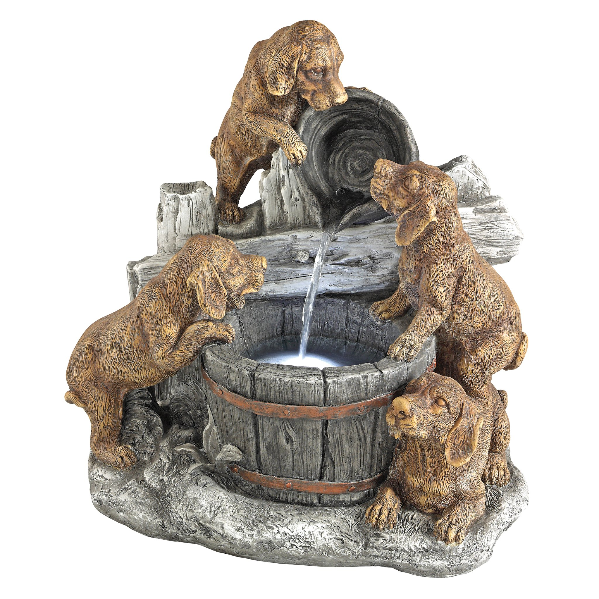 Design Toscano Puppy Pail Pour Dog Garden Decor Cascading Fountain Water Feature, 21 Inch, Polyresin with LED Lights, Full Color