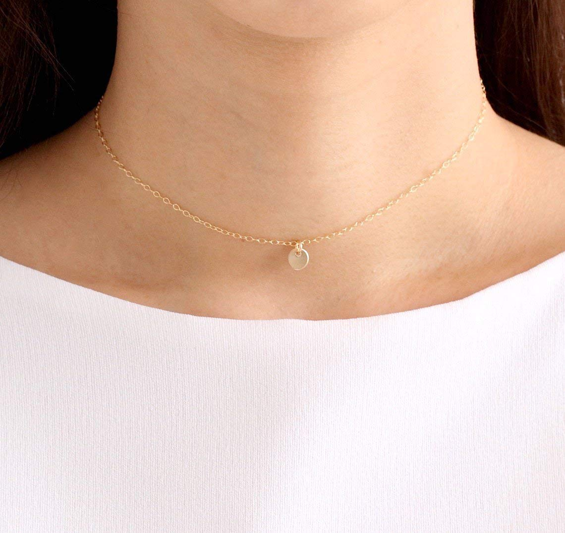 14K Gold filled Disc Choker, Sterling Silver Disc Choker, Disc Choker necklace, Tiny Disc Choker, Minimalist Necklace, Layered Necklace, Gift