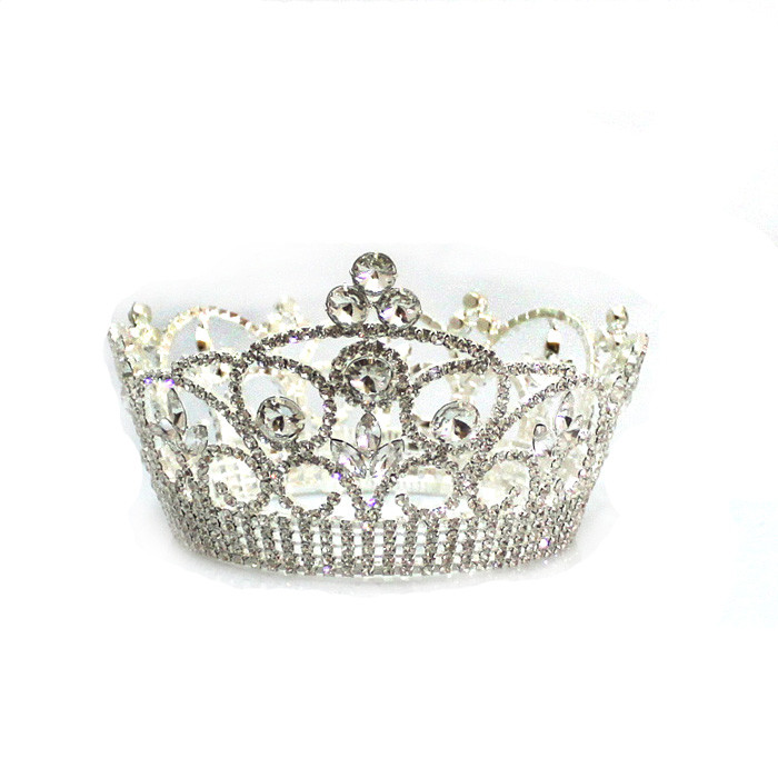2017 trendy women rhinestone pageant round crown for sale H172-149