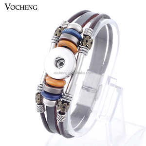 10pcs/lot Wholesale Vocheng Snap Interchangeable Button Jewelry 18mm Cow Leather snaps Bracelet NN-363*10 Free Shipping