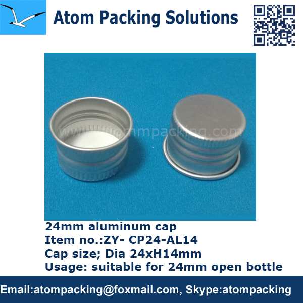 24 mm silver aluminum cap threaded for plastic bottle and glass bottle