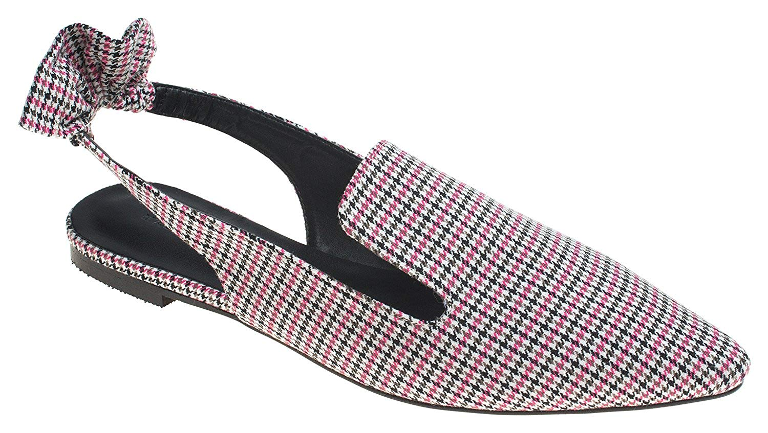 1abf0061067 AnnaKastle Womens Pointy Toe Checked Slingback Loafer with Ruffle Accent
