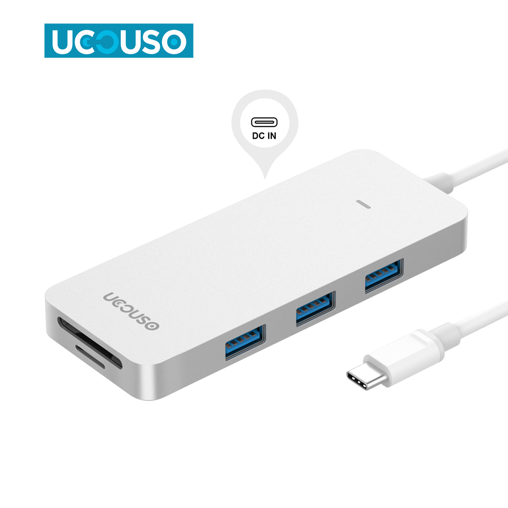New Arrival USB Cable Type C hub Adapter 3 USB 3.0 Port type c hub with SD card slot and type c female port
