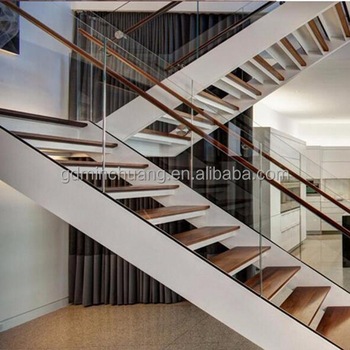 Luxury Modern White Powder Coated Timber Steel Stairs Staircase