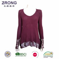 2017 New Style Spring Full Sleeve Lace Patchwork Casual T Shirt Woman