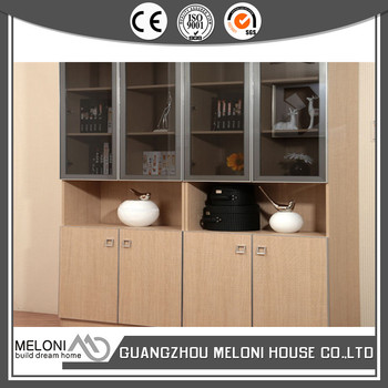 Beige Color Interior Bookshelf With Black Glass Hinge Door For Project