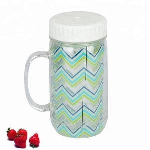 eco-friendly round mouth straw 24 oz plastic mug cup have handle double wall cup