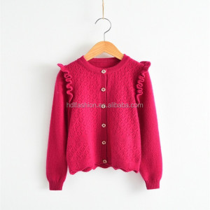 Button down design fancy knitting pattern sweater type kids cashmere coat