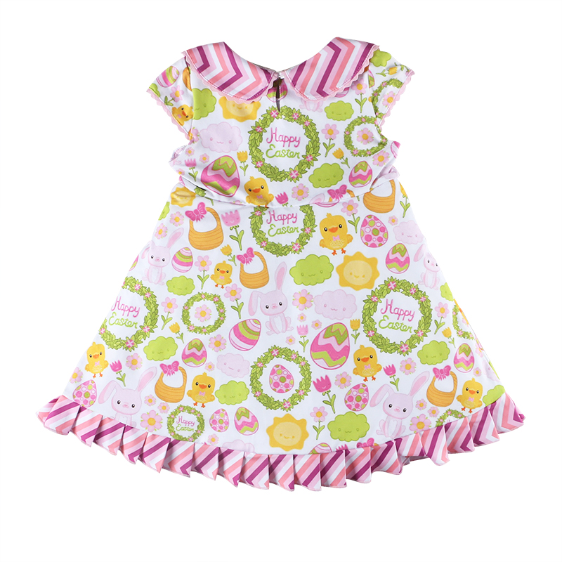 wholesales girls kids baby clothing cute chicken cartoon colored egg print ruffle trimmed girls easter clothing