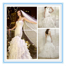 This Soft Organza Mermaid Gown Has A Draped Bodice and Hand-Sewn Crystal and Diamante Beading Indian Bridal Dresses (WDES-1011)